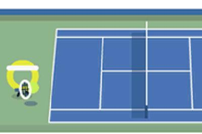 The US Open Google Doodle is currently engaged in the longest tennis point of all time
