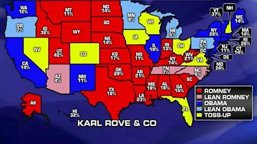 Electoral map as 2012 race goes into final strech