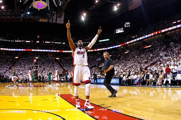 Dwyane Wade #3 Of The Miami Heat Gestures Getty Images