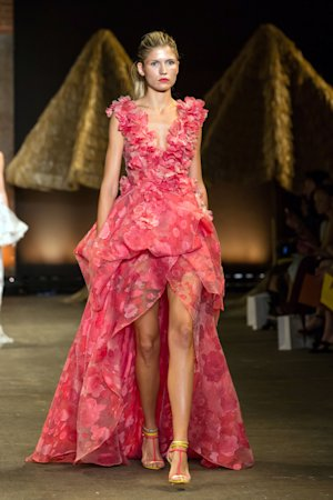 In this Saturday, Sept. 7, 2013, photo, provided by Christian Siriano, fashion from the Christian Siriano Spring 2014 collection is modeled during Fashion Week in New York. (AP Photo/Christian Siriano)