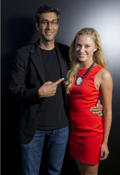Director Ramin Bahrani and Maika Monroe pose for portraits  to promote the film 'At Any Price' during the 69th edition of the Venice Film Festival in Venice, Italy, Friday, Aug. 31, 2012. (AP Photo/Jo