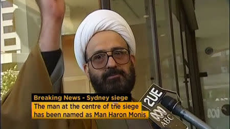 Iranian refugee Man Haron Monis speaks in this still image taken from undated file footage