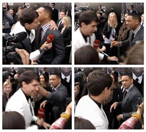 """In this photo combo from video images taken from AP video, top left image, U.S. actor Will Smith, center right, is embraced by reporter Vitalii Sediuk, white suit, from the Ukrainian television channel 1+1, on the red carpet before the premiere of """"Men in Black III"""" Friday, May 18, 2012, in Moscow. At top right, Smith reacts after the two men embraced. In bottom left image, Smith slaps Sediuk after the male television reporter allegedly tried kissing Smith. In bottom right photo, Smith walks away from Sediuk. (AP Photo via AP video)"""