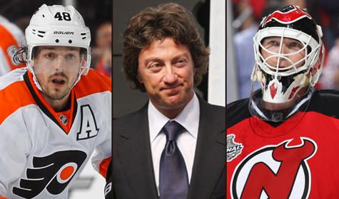 Daniel Briere, Daryl Katz and Martin Brodeur Getty Images