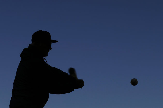 Detroit Tigers manager Jim Leyland hits fielding practice before Game 1 of baseball's World Series against the San Francisco Giants Wednesday, Oct. 24, 2012, in San Francisco. (AP Photo/David J. Phillip)