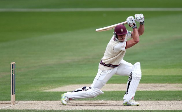 Nick Compton, pictured, and Craig Kieswetter held Somerset's chase in place