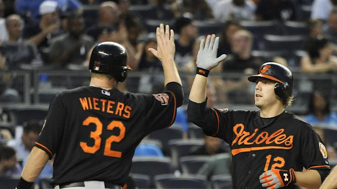 Baltimore Orioles' Mark Reynolds (12) is greeted at home plate after hitting a two-run home run off New York Yankees starting pitcher Hiroki Kuroda that also scored  Matt Wieters (32) in the second inning of a baseball game on Friday, Aug., 31, 2012, at Yankee Stadium in New York. (AP Photo/Kathy Kmonicek)