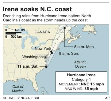 Map shows Hurricane Irene's latest location