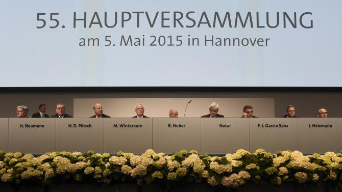 Interim chairman Huber, former boss of the IG Metall labour union and Volkswagen board members are pictured at the start of the Volkswagen annual shareholder meeting in Hanover