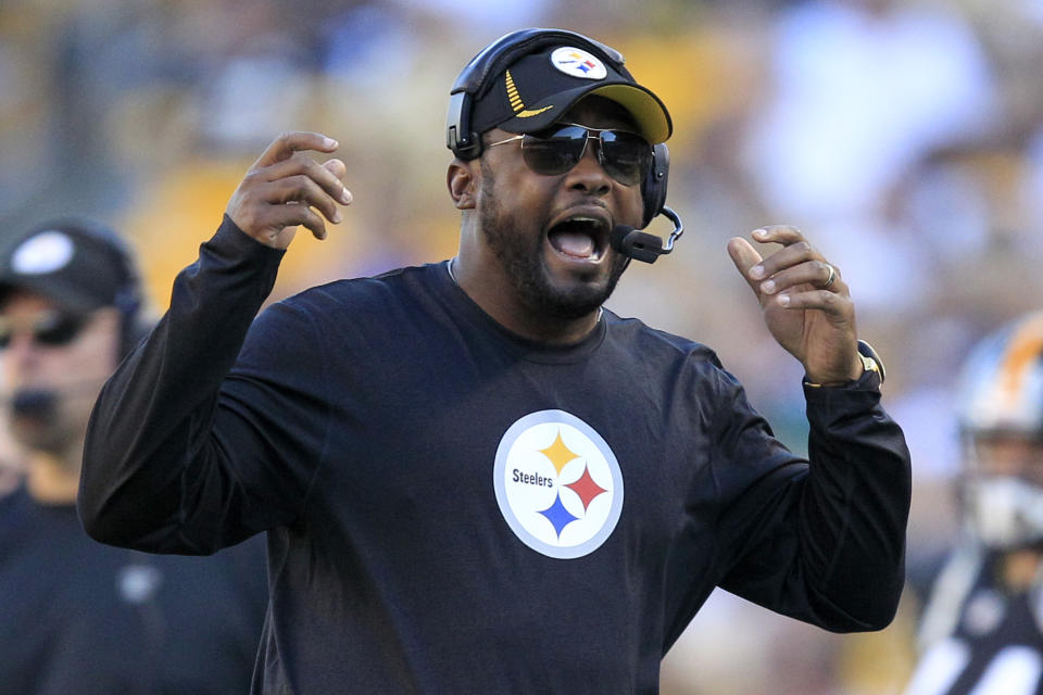 Pittsburgh Steelers head coach Mike Tomlin yells towards an official in the second quarter of an NFL football game against the New York Jets in Pittsburgh, Sunday, Sept. 16, 2012. (AP Photo/Gene J. Puskar)