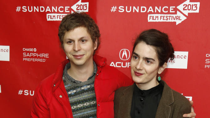 """Cast members Michael Cera, left, and Gaby Hoffmann, right, pose at the premiere of """"Crystal Fairy"""" during the 2013 Sundance Film Festival on Thursday, Jan. 17, 2013 in Park City, Utah. (Photo by Danny Moloshok/Invision/AP)"""