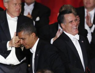 Obama, Romney trade (mostly) friendly barbs at charity dinner