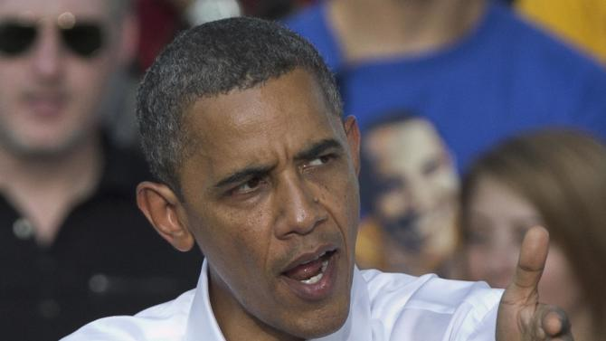 President Barack Obama speaks during a campaign stop in Sioux City, Iowa, Saturday, Sept. 1, 2012. (AP Photo/Nati Harnik)