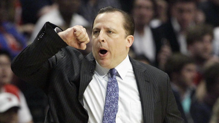 Chicago Bulls coach Tom Thibodeau reacts as he watches his team during the first quarter of Game 5 in an NBA basketball first-round playoff series against the Philadelphia 76ers in Chicago on Tuesday, May 8, 2012. (AP Photo/Nam Y. Huh)