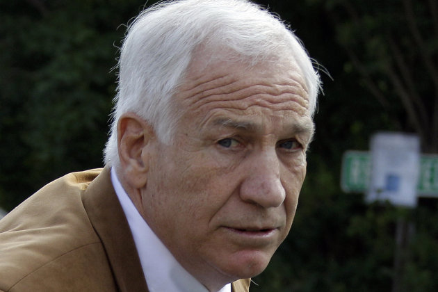 Former Penn State University assistant football coach Jerry Sandusky arrives at the Centre County Courthouse in Bellefonte, Pa., Friday, June 22, 2012. Sandusky is accused of sexual abuse of 10 boys over a 15-year period. (AP Photo/Gene J. Puskar)