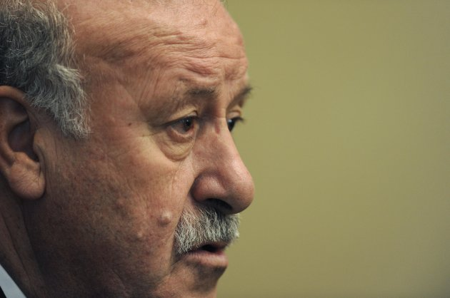 Spain's national soccer coach Vicente del Bosque attends a news conference in Gijon