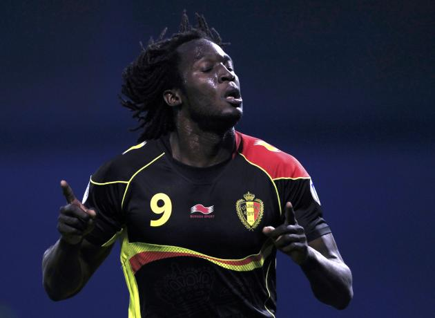 Belgium's Lukaku celebrates his second goal against Croatia during their 2014 World Cup qualifying soccer match at Maksimir stadium in Zagreb