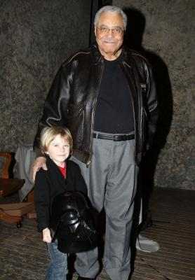 "James Earl Jones poses with six year-old Max Page (star of Volkswagen's Darth Vader themed Super Bowl commercial) backstage at ""Driving Miss Daisy"" on Broadway at the Golden Theatre in New York City on February 7, 2011  -- FilmMagic"