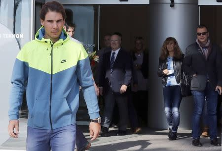Spanish tennis player Rafael Nadal leaves the hospital after appendicitis surgery in Barcelona