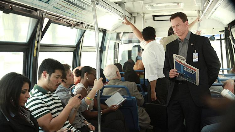 """Indelible"" -- Mac Taylor (Gary Sinise) remembers the tenth anniversary of the Sept. 11 attacks and the death of his wife, Claire, as he rides the bus to work, on the eighth season premiere of CSI: NY, Friday, Sept. 23 (9:00-10:00 PM, ET/PT) on the CBS Television Network. Photo: Richard Cartwright/CBS ©2011 CBS Broadcasting Inc. All Rights Reserved. <a href=""/baselineshow/4769320"">CSI: New York</a>"