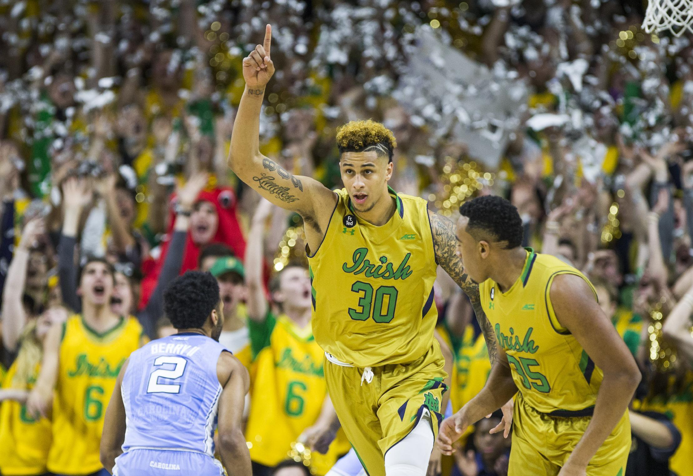 Notre Dame rallies to beat No. 2 North Carolina 80-76