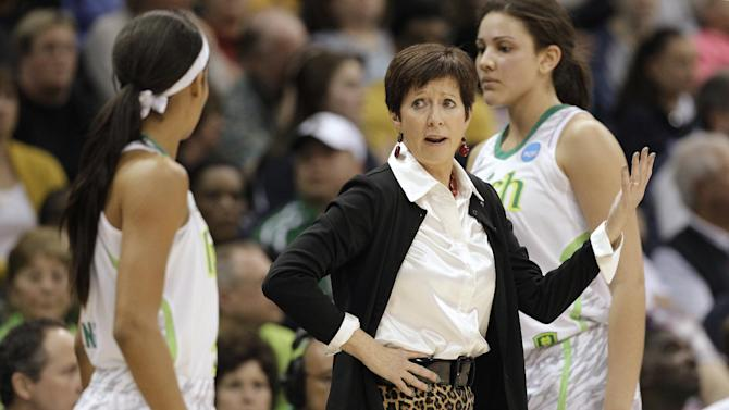 Notre Dame head coach Muffet McGraw talks with guard Skylar Diggins, left, during the second half of the regional final of the NCAA women's college basketball tournament Tuesday, April 2, 2013, in Norfolk, Va.  Notre Dame defeated Duke 87-76. (AP Photo/Steve Helber)