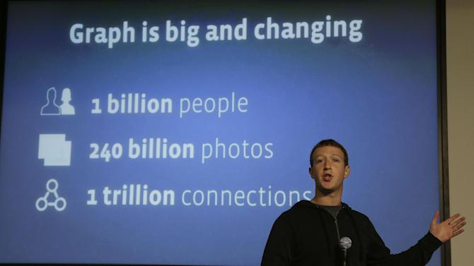"""Facebook CEO Mark Zuckerberg speaks about Facebook Graph Search at a Facebook headquarters in Menlo Park, Calif., Tuesday, Jan. 15, 2013. Called """"graph search,"""" the new service lets users search their social connections for information about their friends' interests, and for photos and places.  (AP Photo/Jeff Chiu)"""