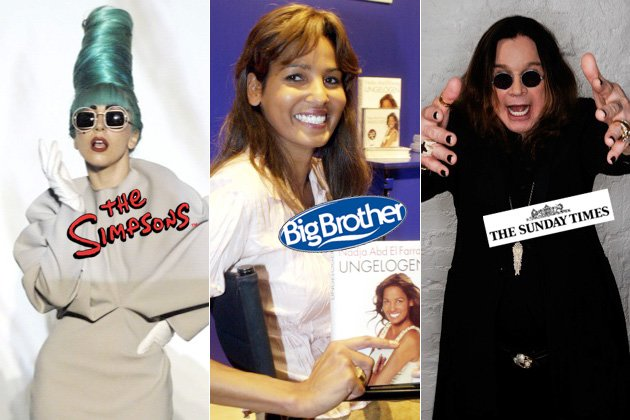 Promis packen es an: Gelbe Gaga, Dr. Ozzy und Container-Naddel (Bilder: ddp images, AP, Getty Images)