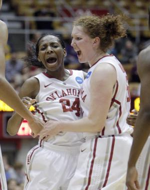 Oklahoma's Sharane Campbell, left, and Joanna McFarland celebrate during the second half of a first-round game against Central Michigan in the women's NCAA college basketball tournament Saturday, March 23, 2013, in Columbus, Ohio. Oklahoma beat Central Michigan 78-73. (AP Photo/Jay LaPrete)