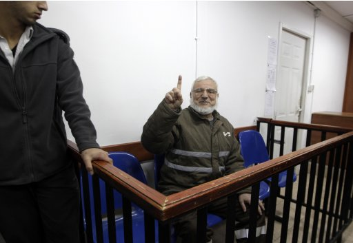 Senior Hamas official Aziz Dweik gestures inside a courtroom at military court near Ramallah