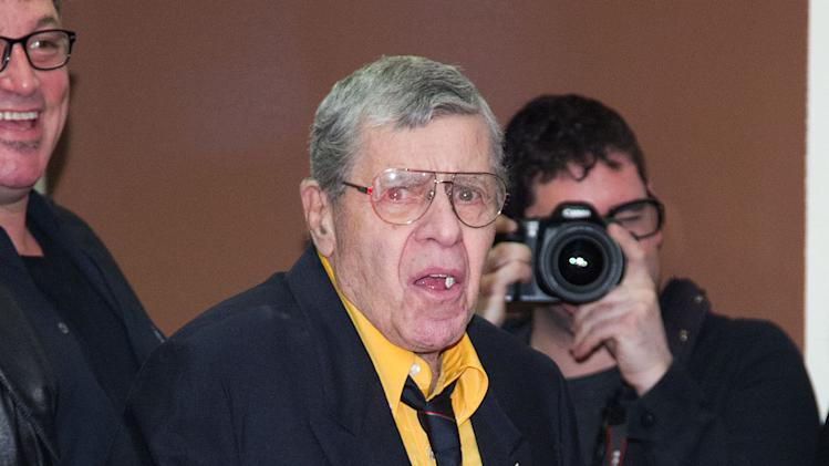 "Jerry Lewis attends ""The King Of Comedy"" screening on Saturday, April 27, 2013 in New York. Lewis stars in the 1982 film with Robert De Niro and Sandra Bernhard.  (Photo by Dario Cantatore/Invision/AP )"