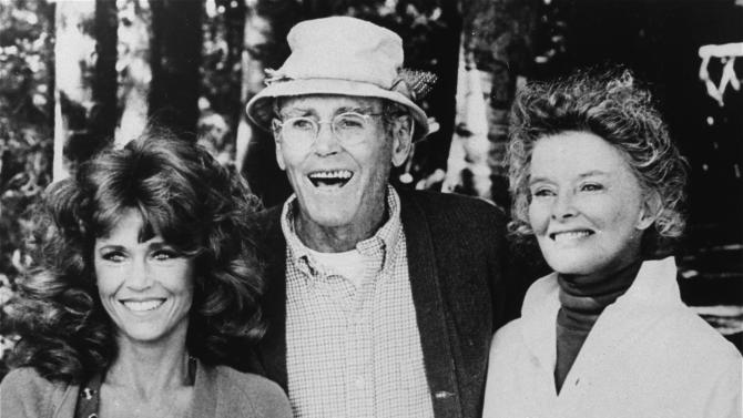 """FILE - In this undated publicity file photo, from left, co-stars Jane Fonda, Henry Fonda, and Katharine Hepburn are pictured in character as seen from the 1981 film, """"On Golden Pond.""""  On on Saturday, April 27, 2013, Jane Fonda, the 75-year-old Oscar winner , will place her hand and footprints next to her father's in the concrete shrine to celebrity outside Hollywood's TCL Chinese Theatre. Then she'll present a special screening of the film she made with her dad, """"On Golden Pond."""" The cement and cinematic tribute is part of the 2013 TCM Classic Film Festival, which is honoring Jane Fonda. (AP Photo, File)"""