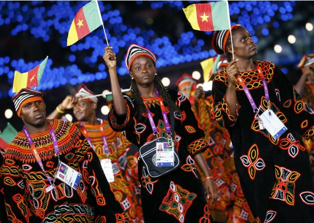 Members of Cameroon's contingent take part in the athletes parade during the opening ceremony of the London 2012 Olympic Games