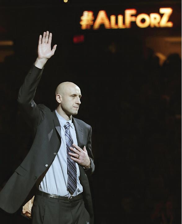 Zydrunas Ilgauskas is introduced during halftime of an NBA basketball game between the New York Knicks and the Cleveland Cavaliers on Saturday, March 8, 2014, in Cleveland. Soft-spoken and doggedly de