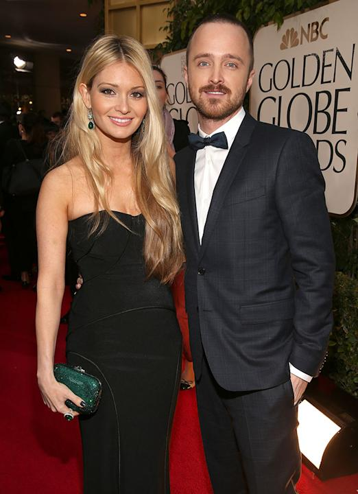 "NBC's ""70th Annual Golden Globe Awards"" - Red Carpet Arrivals: Aaron Paul and Lauren Parsekian"