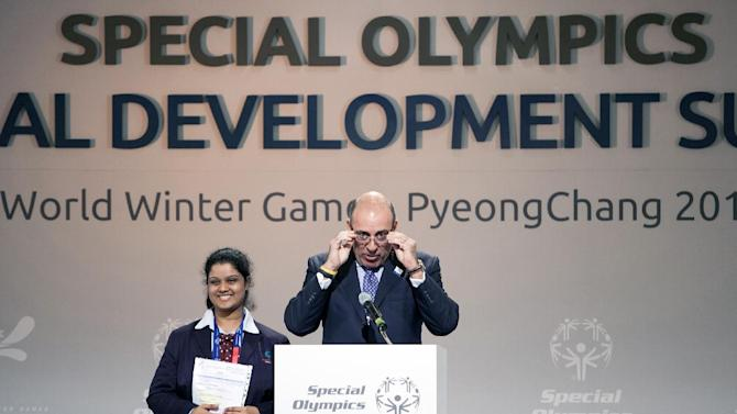 IMAGE DISTRIBUTED FOR SPECIAL OLYMPICS - The Coca-Cola Company CEO Muhtar Kent, right, gives his speech during the Special Olympics Global Development Summit in PyeongChang, South Korea on the second day of the competition, Wednesday, Jan. 30, 2013. Around 300 leading figures from around the world gather at the Convention Center of Alpensia Resort Pyeongchang to discuss the cycle of poverty and social exclusion for people with intellectual disabilities. (Manchul Kim/AP Images for Special Olympics)