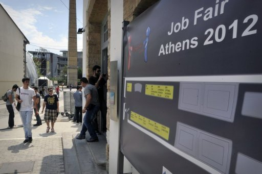 <p>Students and young graduates arrive at a job fair in Athens in May. Greece's jobless rate rose to 24.4% in June with more than 1.2 mn people unemployed, official data showed on Thursday ahead of an EU-IMF audit crucial to the country's economic survival.</p>