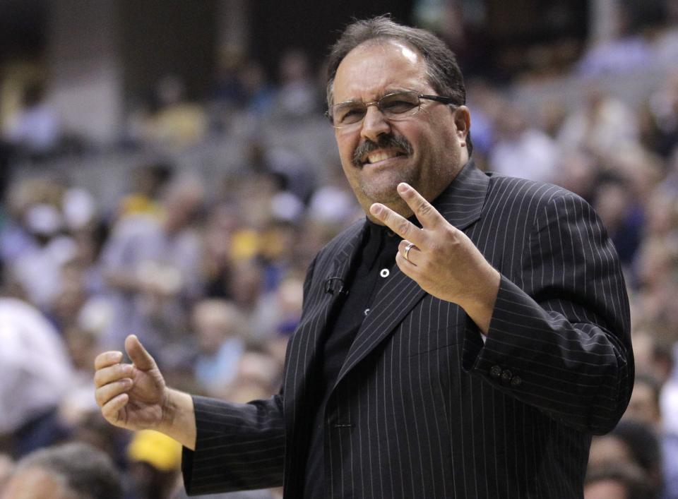 Orlando Magic coach Stan Van Gundy questions the lack of a call in the first half of the second game of an NBA first-round playoff basketball series against the Indiana Pacers, in Indianapolis, Monday, April 30, 2012. (AP Photo/Michael Conroy)