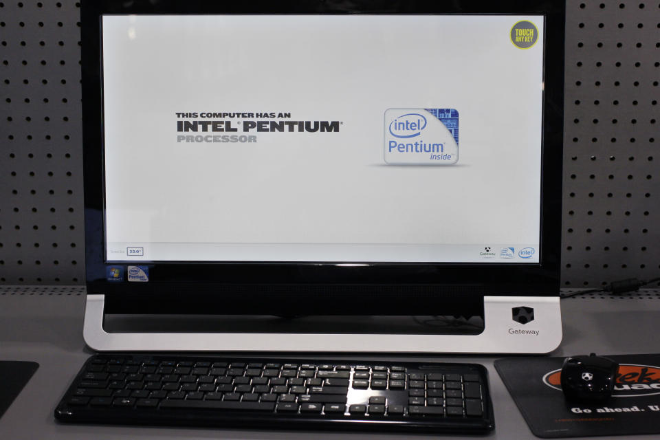 Intel advertisement is shown on a desktop computer at Best Buy in Mountain View, Calif., Tuesday, April 17, 2012. (AP Photo/Paul Sakuma)