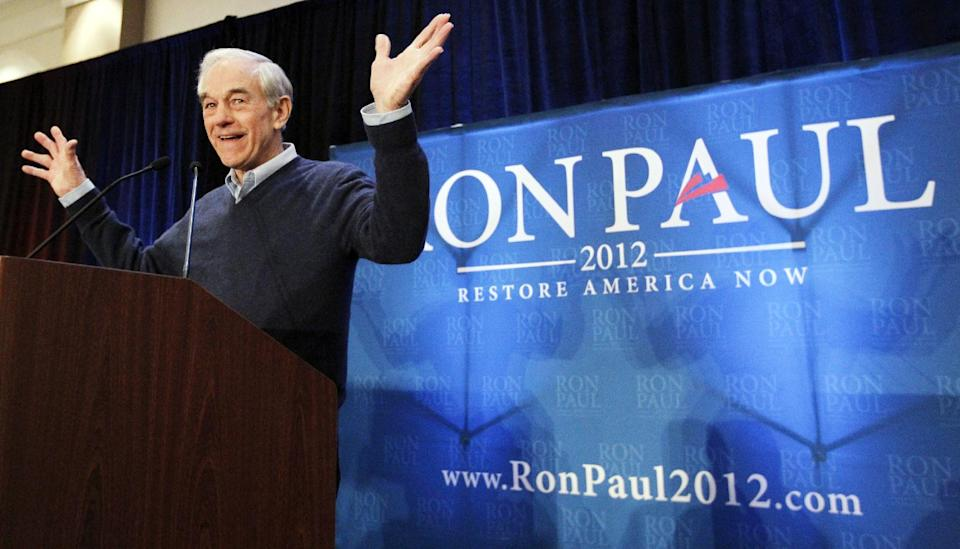 Republican presidential candidate, Rep. Ron Paul, R-Texas, campaigns in Myrtle Beach, S.C., Sunday, Jan. 15, 2012. (AP Photo/Charles Dharapak)