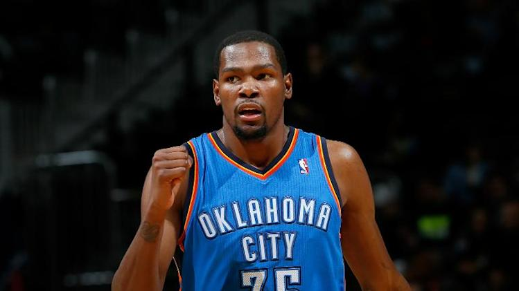 Kevin Durant of the Oklahoma City Thunder, seen in action during an NBA game at Philips Arena in Atlanta, Georgia, on December 10, 2013