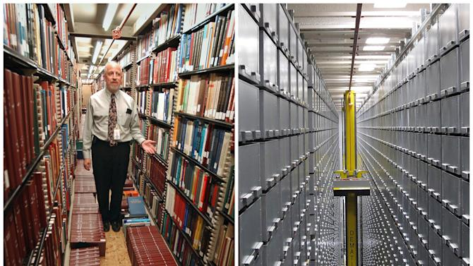 """This combination of Associated Press file photos shows Steven Herman, left, head of the Library of Congress storage facility, at the Library of Congress in 2003, in Washington,  and left, a """"bookBot"""", an automated retrieval system at the James B. Hunt Jr. Library at North Carolina State University in 2013, in Raleigh, N.C. Many middle-class workers have lost jobs because powerful software and computerized machines are doing tasks that only humans could do before. (AP Photo)"""