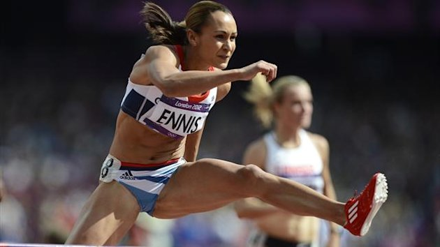 Britain's Jessica Ennis competes in her women's heptathlon 100m hurdles heat 5 at the London 2012 Olympic Games at the Olympic Stadium