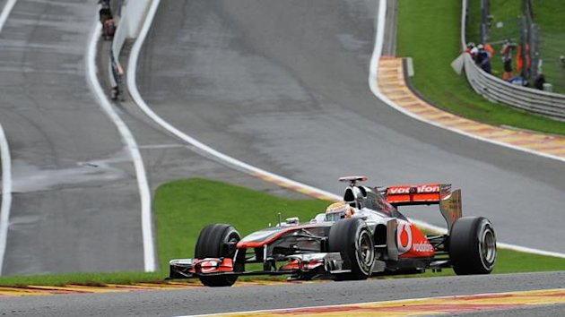 McLaren Mercedes' British driver Lewis Hamilton drives at the Spa-Francorchamps circuit on August 26, 2011 in Spa during the second practice session of the Belgium Formula One Grand Prix