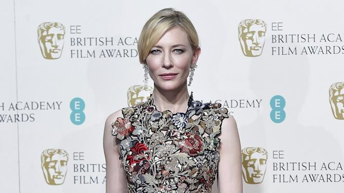 Presenter Cate Blanchett poses at the British Academy of Film and Television Arts (BAFTA) Awards at the Royal Opera House in London