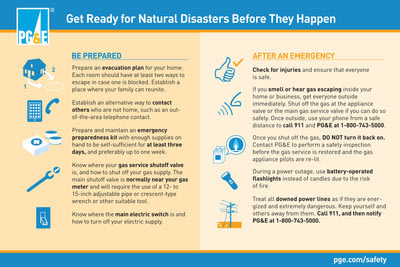 PG&E offers these preparedness tips for emergencies.