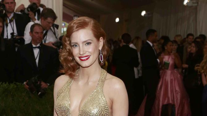 "U.S. actress Jessica Chastain arrives for the Metropolitan Museum of Art Costume Institute Gala 2015 celebrating the opening of ""China: Through the Looking Glass,"" in Manhattan"