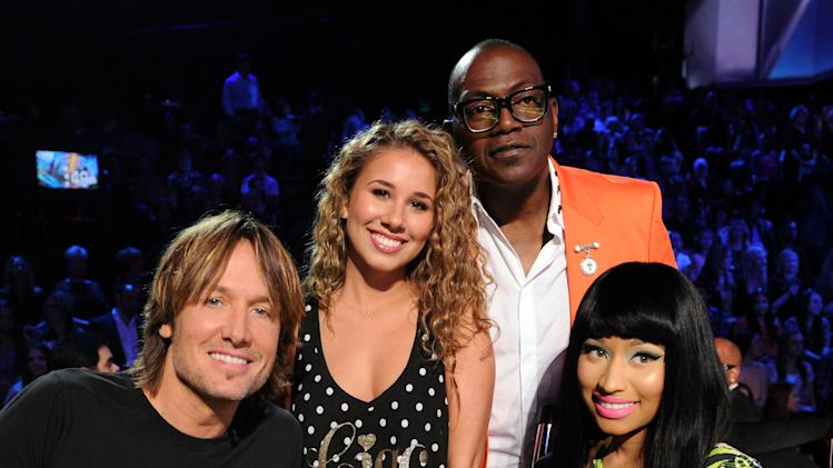 (L-R) Judge Keith Urban, singer Haley Reinhart and judges Randy Jackson and Nicki Minaj at FOX's American Idol Season 12 Top 4 To 3 Live Performance Show on Wednesday, May 1, 2013 in Hollywood, California. (Photo by Frank Micelotta/Invision for FOX/AP Images)