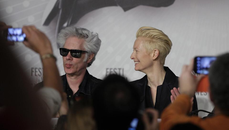 Director Jim Jarmusch, left, and actress Tilda Swinton are photographed prior to a press conference for the film Only Lovers Left Alive at the 66th international film festival, in Cannes, southern France, Saturday, May 25, 2013. (AP Photo/Virginia Mayo)