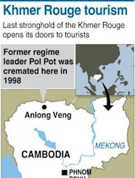 Map of Cambodia locating the town of Anlong Veng, a former Khmer Rouge stronghold which hopes to become the next must-see destination in the country's dark tourism trail